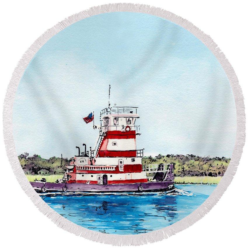 Tug Round Beach Towel featuring the painting Push by Thomas Hamm
