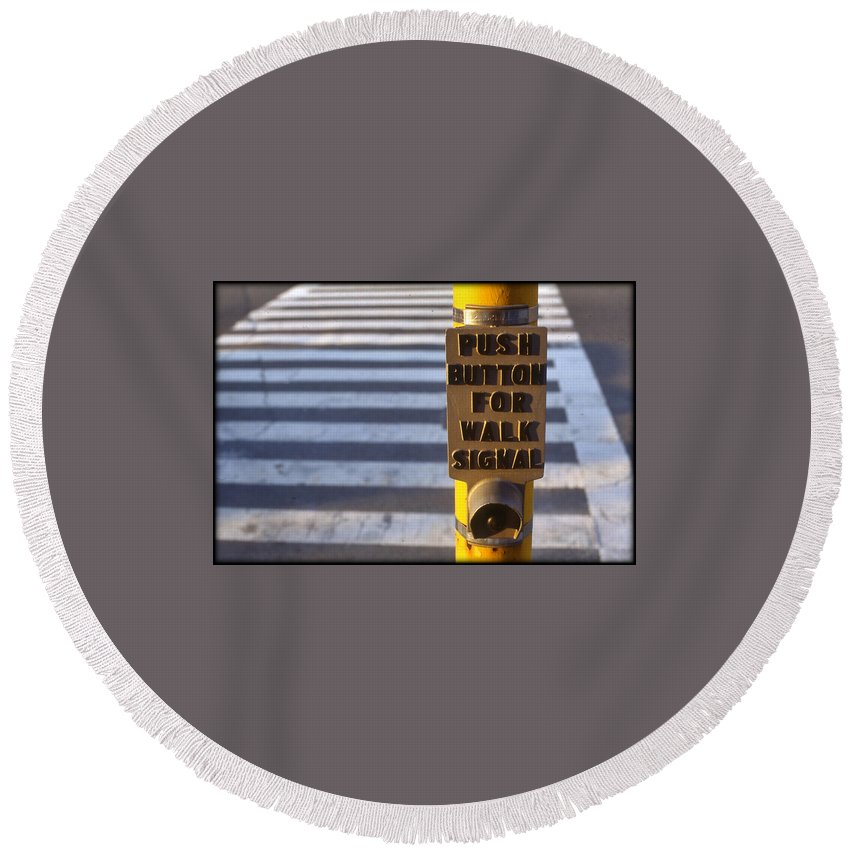 Photograph Round Beach Towel featuring the photograph Push To Cross by Stephen Harris