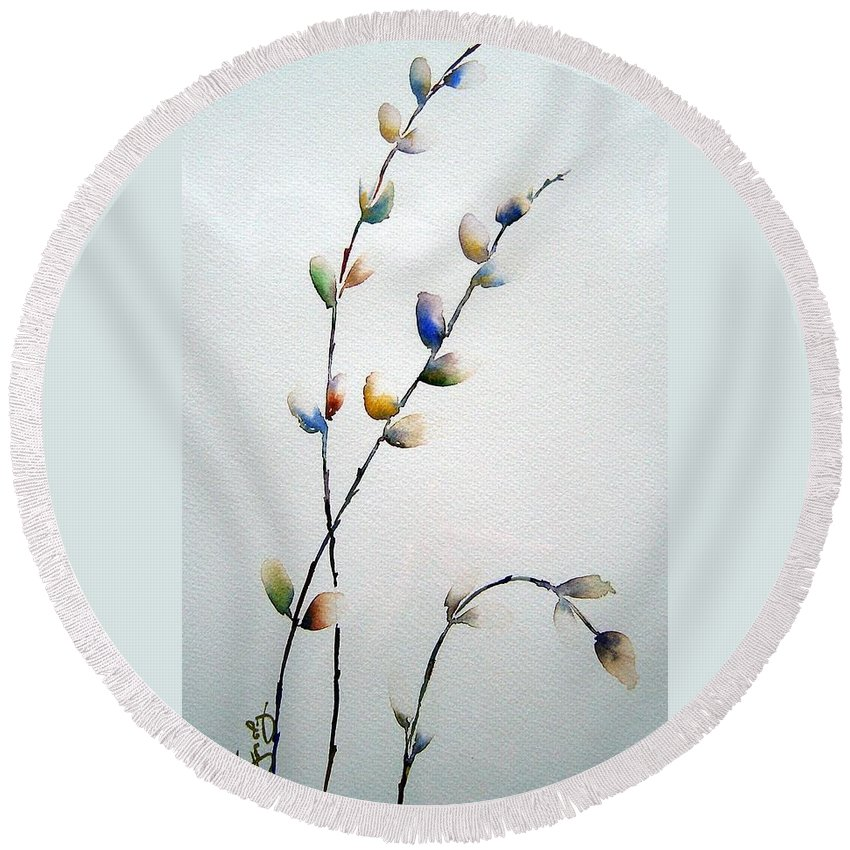 Pussy Willow Branches Round Beach Towel featuring the painting Pussy Willows by Joanne Smoley