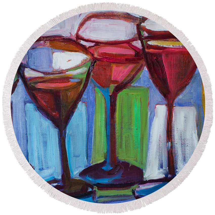 Wine Glasses Round Beach Towel featuring the painting Put A Cork In It by Susan Scoggins