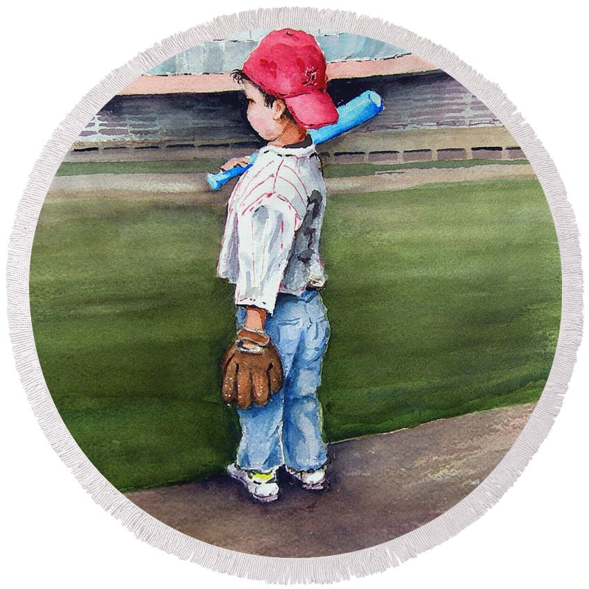 Baseball Round Beach Towel featuring the painting Put Me In Coach by Sam Sidders