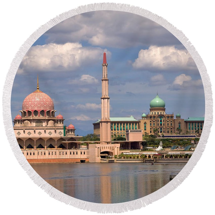 Travel Round Beach Towel featuring the photograph Putra Mosque by Louise Heusinkveld