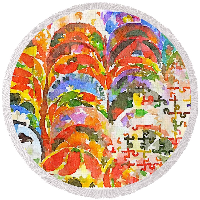 Waterlogue Round Beach Towel featuring the digital art Puzzles by Shannon Grissom