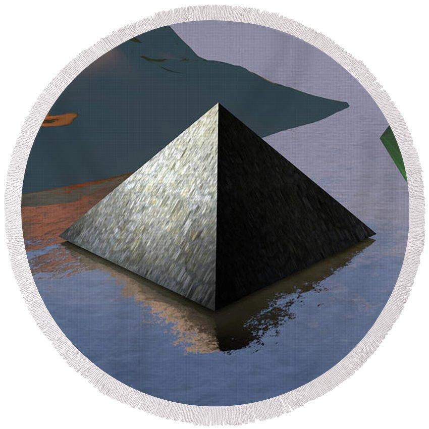 Digital Round Beach Towel featuring the digital art Pyramid by Shane Towler