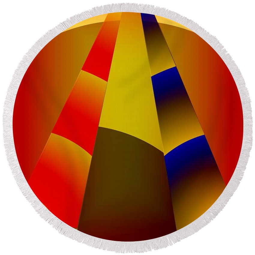 Pyramids Round Beach Towel featuring the digital art Pyramids Pendulum by Helmut Rottler