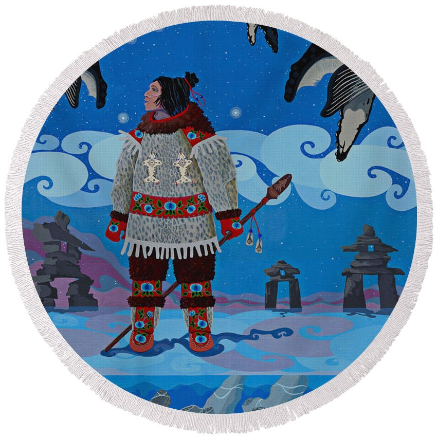 America Round Beach Towel featuring the painting Qikiqtaaluk Whale Dreamer by Chholing Taha