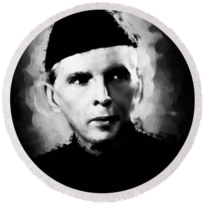 Quaid e azam round beach towel featuring the painting quaid e azam opt1 by gull g