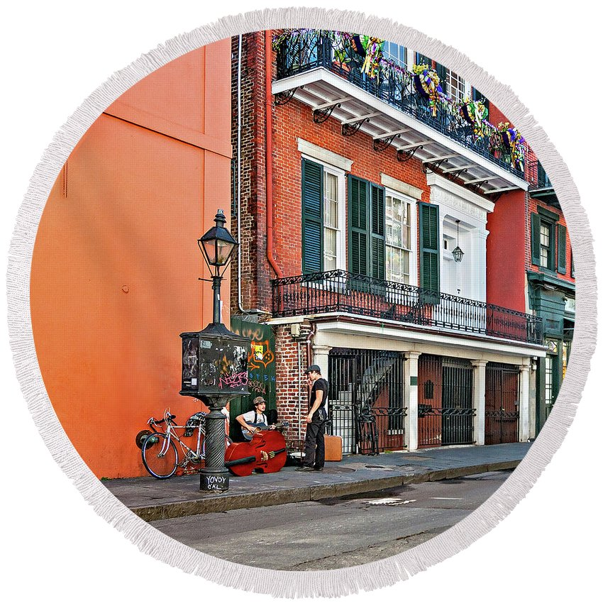 French Quarter Round Beach Towel featuring the photograph Quarter Time by Steve Harrington