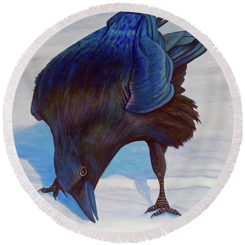 Raven Round Beach Towel featuring the painting Que Pasa by Brian Commerford