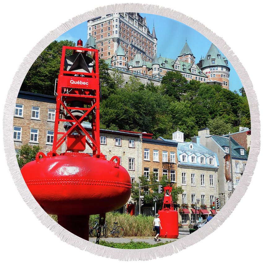 Quebec City Round Beach Towel featuring the photograph Quebec City 58 by Ron Kandt