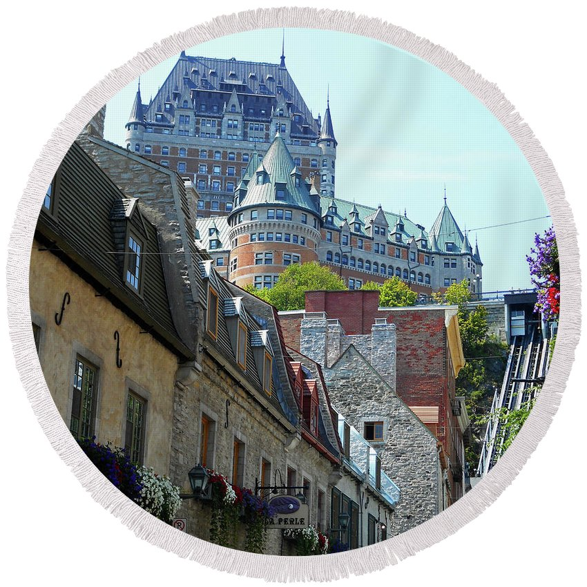 Quebec City Round Beach Towel featuring the photograph Quebec City 61 by Ron Kandt