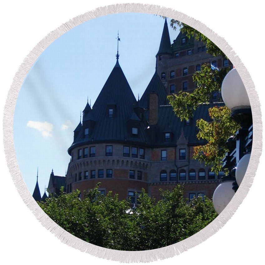 Chateau Frontenac Round Beach Towel featuring the photograph Quebec City by Line Gagne