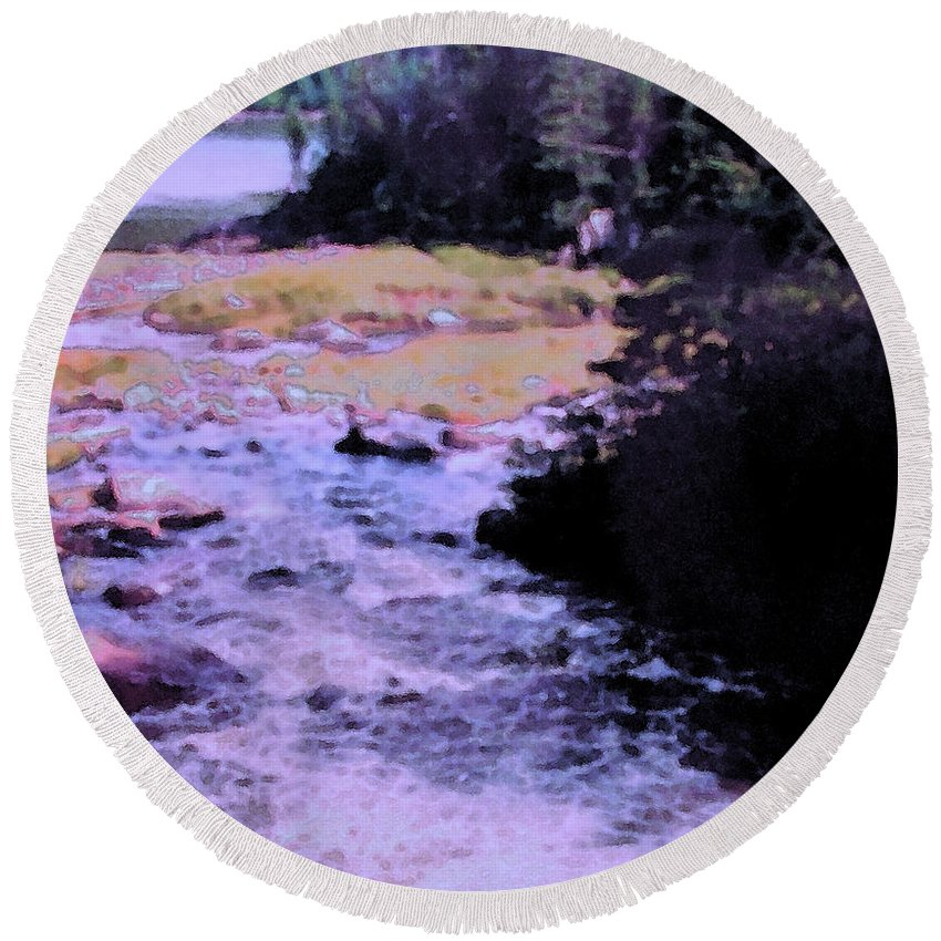 Quebec Round Beach Towel featuring the photograph Quebec River by Ian MacDonald