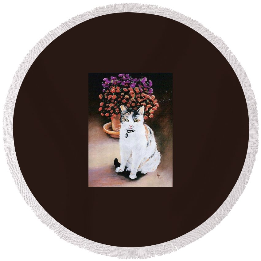 Cat Round Beach Towel featuring the pastel Queen Marishka by Gale Cochran-Smith