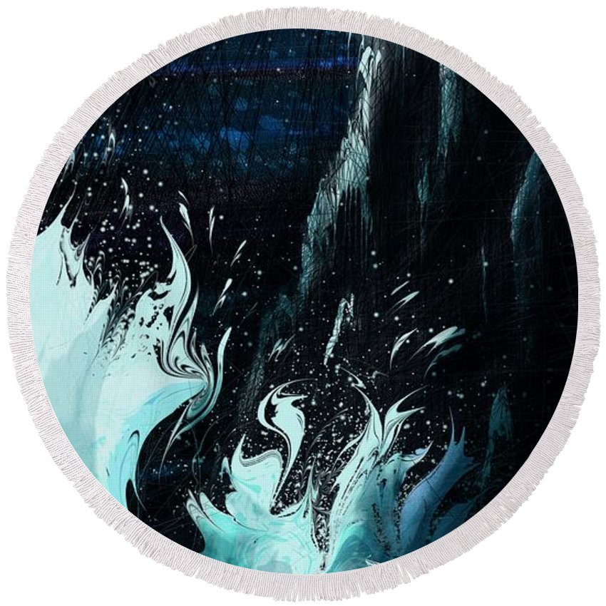 Abstract Round Beach Towel featuring the digital art Queen of the Seas by William Russell Nowicki