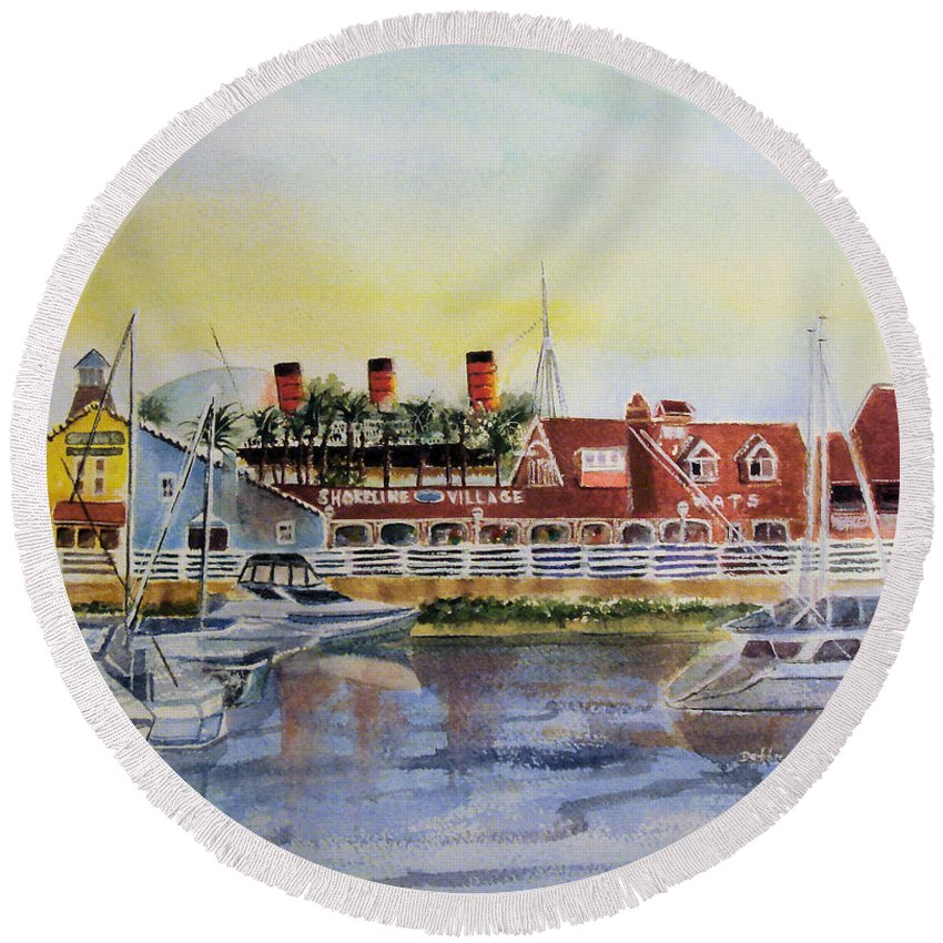 Watercolor Round Beach Towel featuring the painting Queen Of The Shore by Debbie Lewis