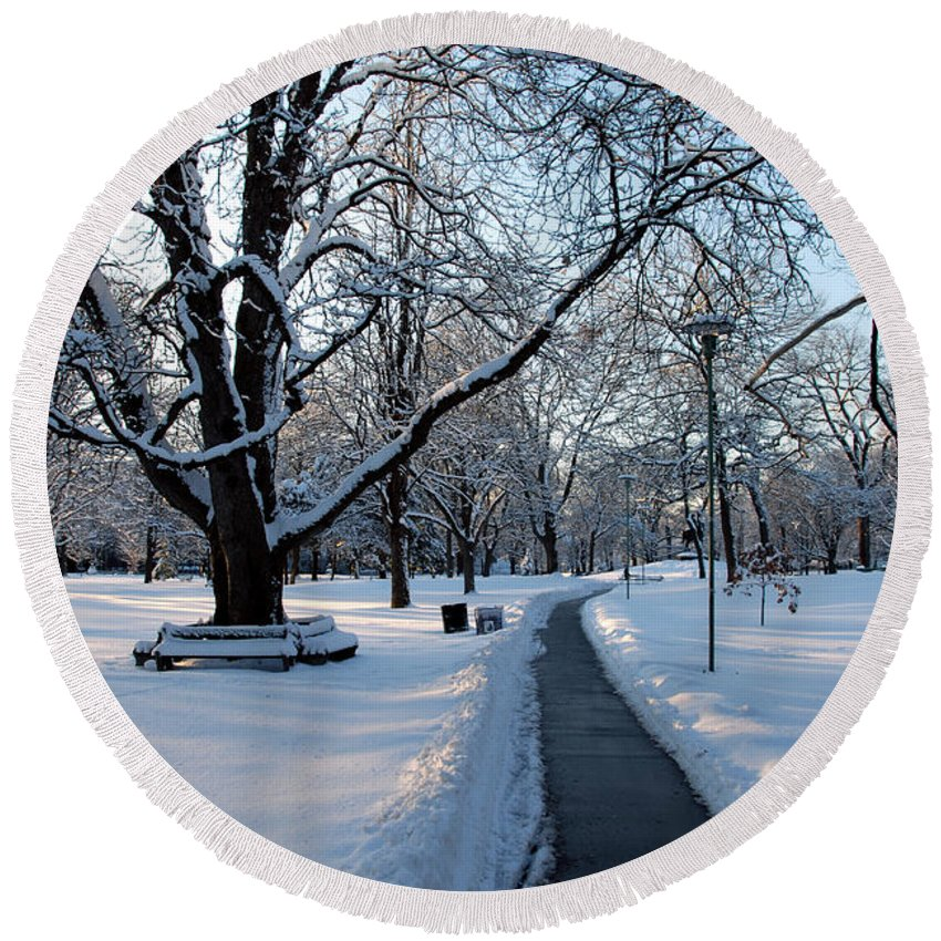 Snow Round Beach Towel featuring the photograph Queen's Park Pathway by Rick Shea