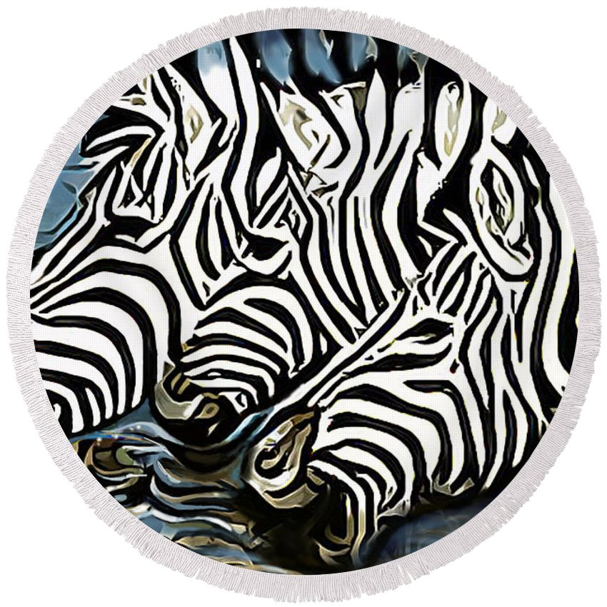 Zebra Round Beach Towel featuring the painting Quenching That Thirst by James Mingo