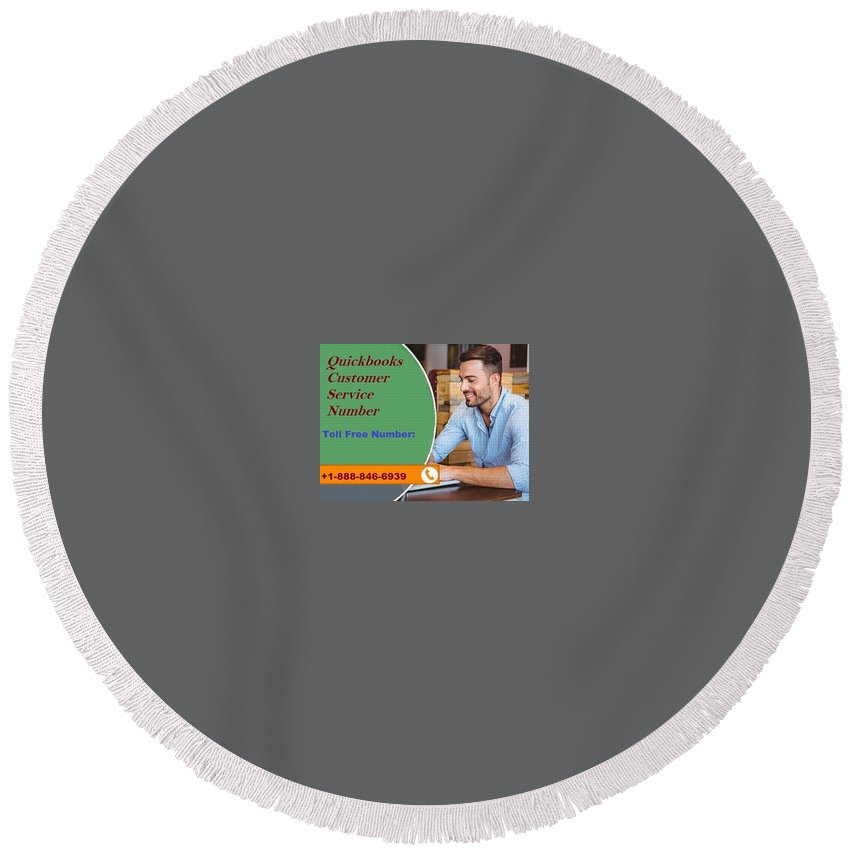 Intuit Quickbooks Technical Support Round Beach Towel featuring the digital art Resolve Common Issues On Quickbooks Bank Reconciliation by Robinson1828