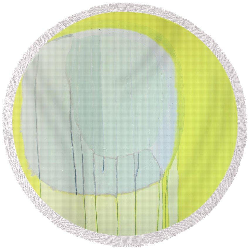 Abstract Round Beach Towel featuring the painting Quien Esta? by Claire Desjardins