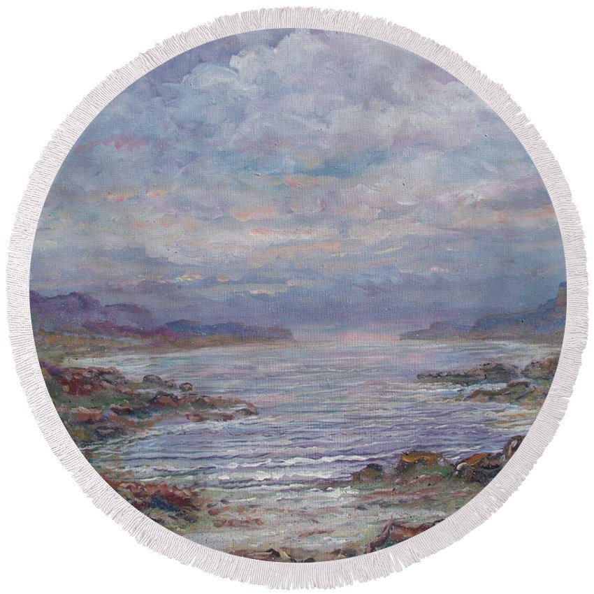 Painting Round Beach Towel featuring the painting Quiet Bay. by Leonard Holland
