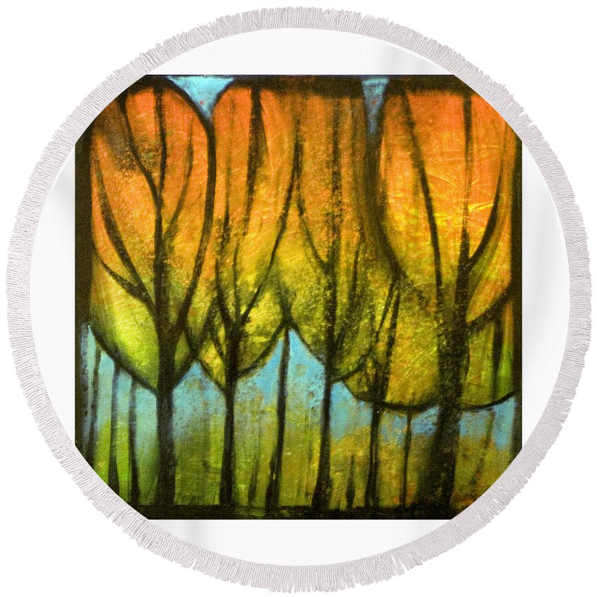 Trees Round Beach Towel featuring the painting Quiet Blaze by Tim Nyberg
