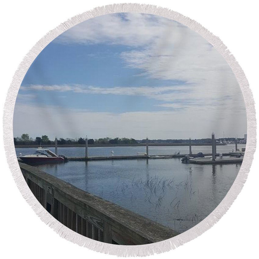 River Round Beach Towel featuring the photograph Quiet Docks by McCall Chase