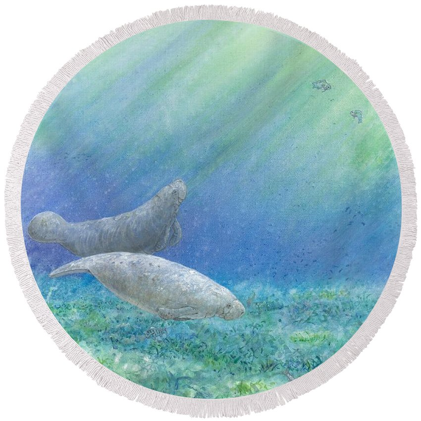 Sea Cow Round Beach Towel featuring the painting Quiet Morning by Sharon Bowman