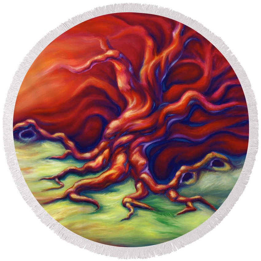 Oil Painting Round Beach Towel featuring the painting Quiet Place by Jennifer McDuffie