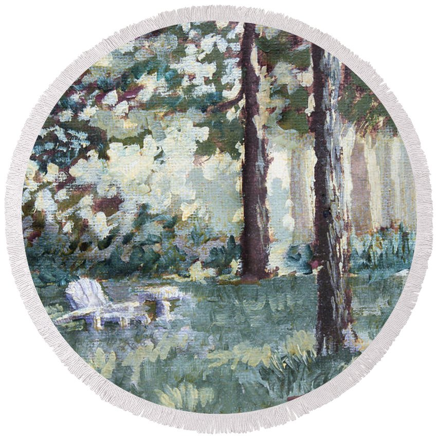 Landscape Round Beach Towel featuring the painting Quiet Place by Todd A Blanchard