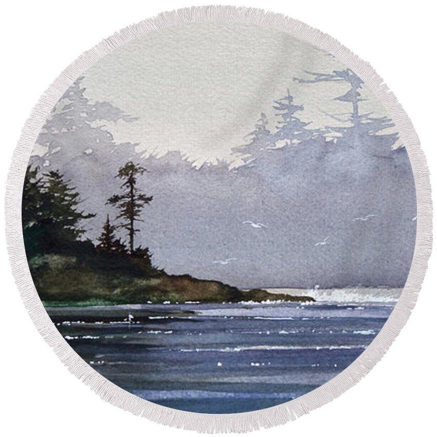 Landscape Fine Art Print Round Beach Towel featuring the painting Quiet Shore by James Williamson