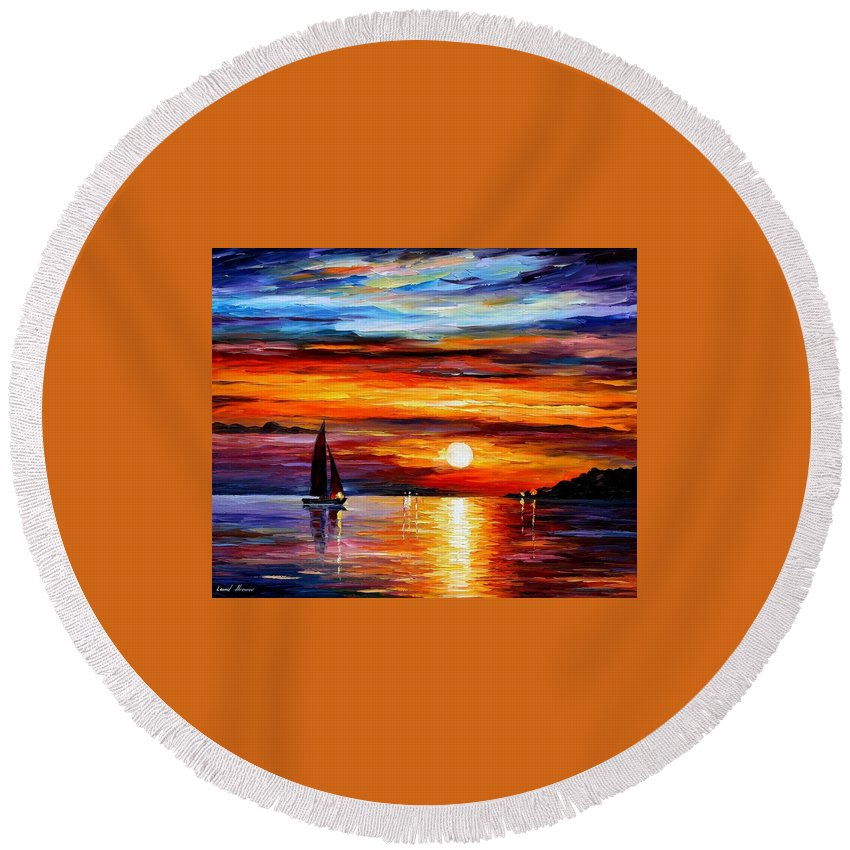 Afremov Round Beach Towel featuring the painting Quiet Sunset by Leonid Afremov