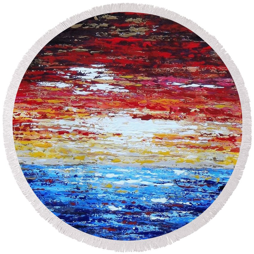 Acrylic Round Beach Towel featuring the painting Quiet Surrender by Daniela Pasqualini