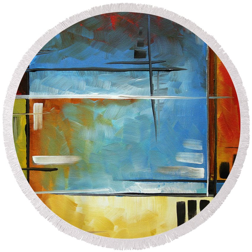 Abstract Round Beach Towel featuring the painting Quiet Whispers By Madart by Megan Duncanson