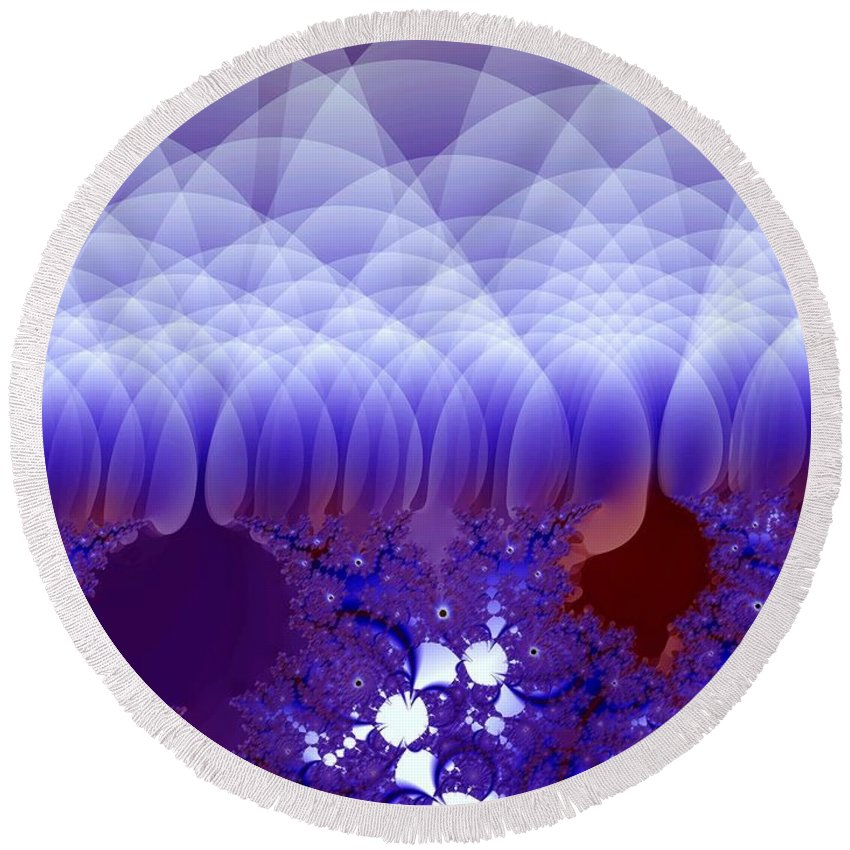 Fractal Image Round Beach Towel featuring the digital art Quilted Blue by Ron Bissett