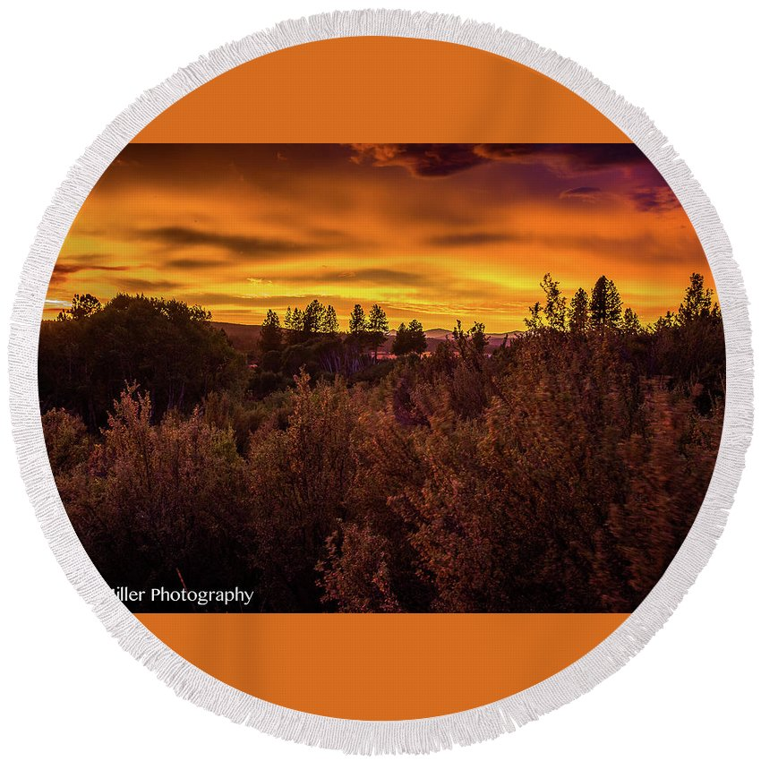 Sunset Round Beach Towel featuring the photograph Quilted Orange Skies by Penny Miller