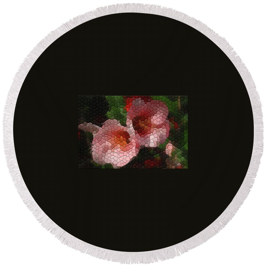 Quince Round Beach Towel featuring the photograph Quince Toyo Nishiki by Kathryn Meyer