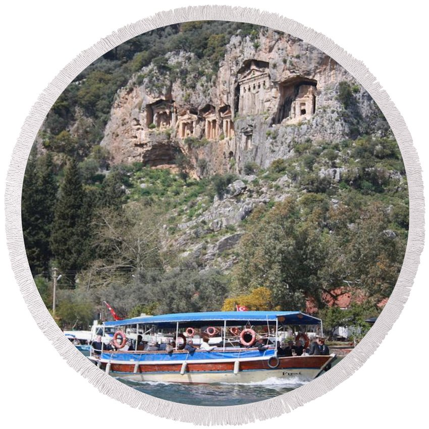Dalyan Round Beach Towel featuring the photograph Quintessentially Dalyan River Boats And Rock Tombs by Tracey Harrington-Simpson