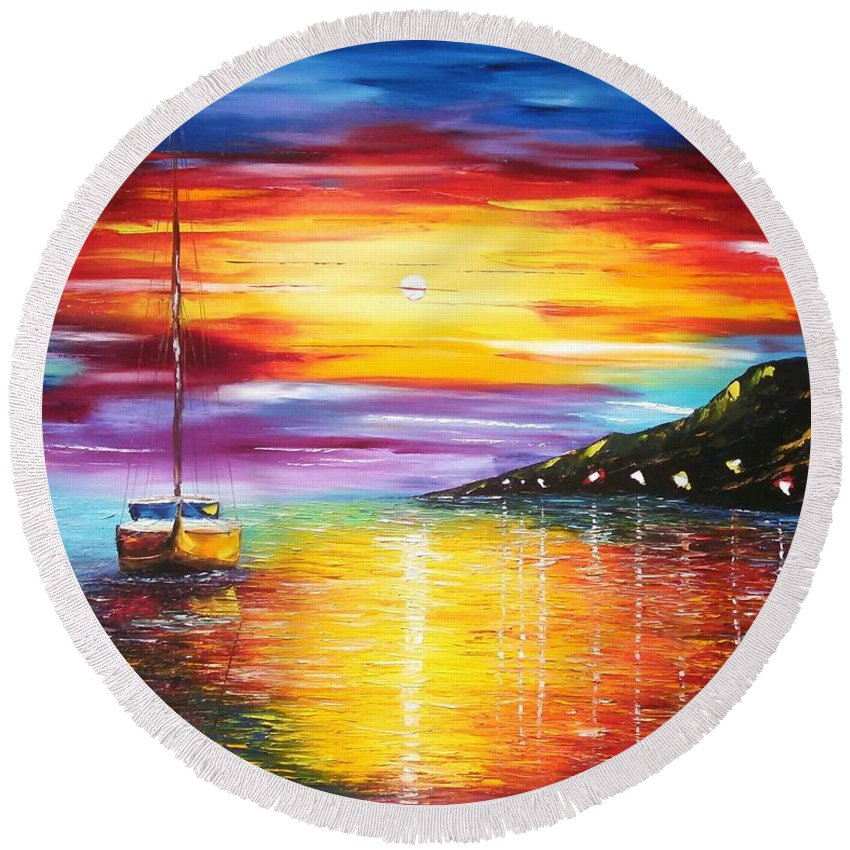Seascape Round Beach Towel featuring the painting Quite Harbor by Paul Anderson