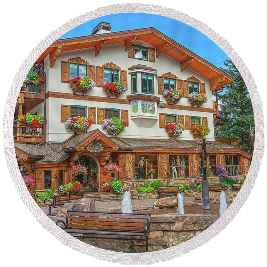 Vail Village Round Beach Towel featuring the photograph Quite Possibly The Most Expensive And Luxurious Ski Resort In The World, Vail, Colorado by Bijan Pirnia