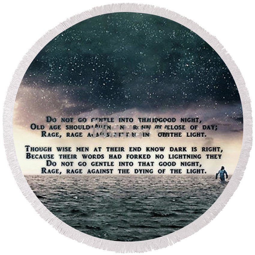 Movie Round Beach Towel featuring the digital art Quotes From Interstellar by Dewi Ranjang