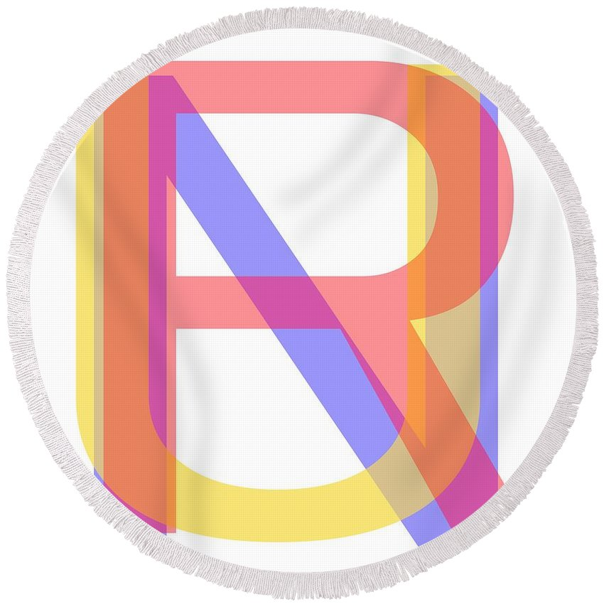 Typography Round Beach Towel featuring the photograph R U N by Bill Owen