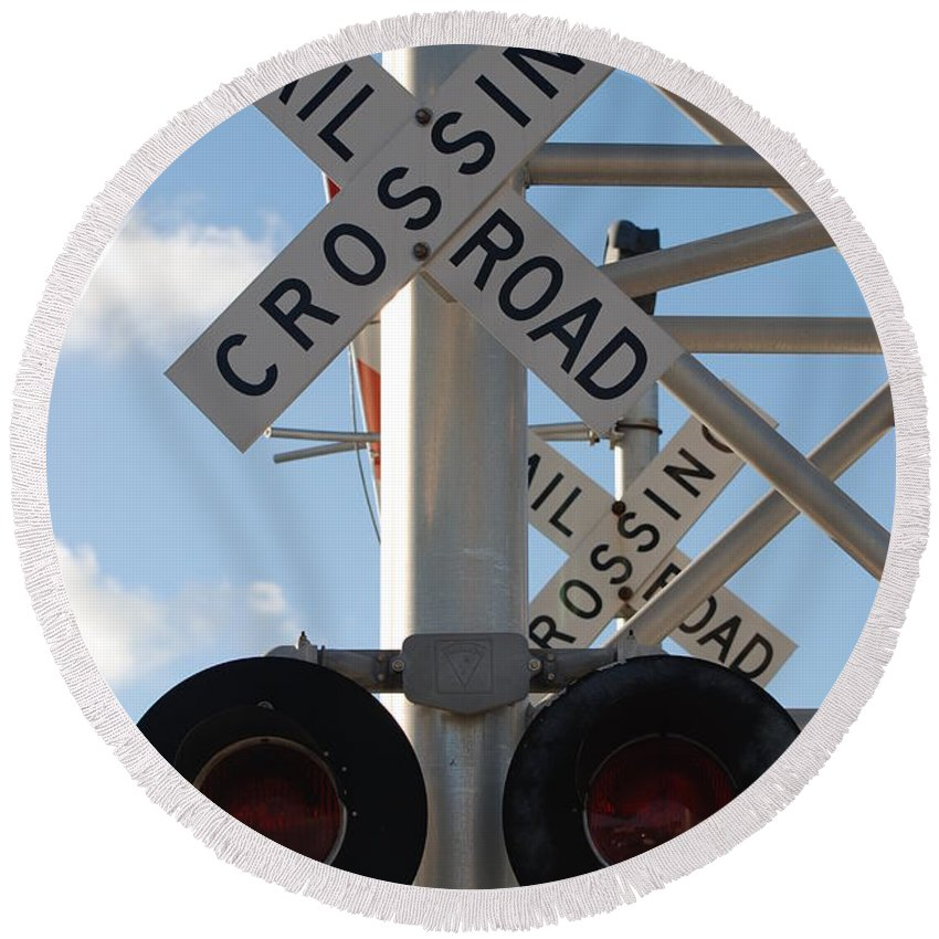 Train Round Beach Towel featuring the photograph R X R Crossing by Rob Hans