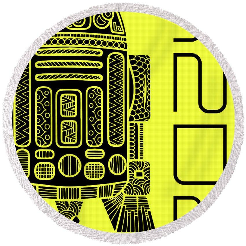 R2d2 Round Beach Towel featuring the mixed media R2d2 - Star Wars Art - Yellow by Studio Grafiikka