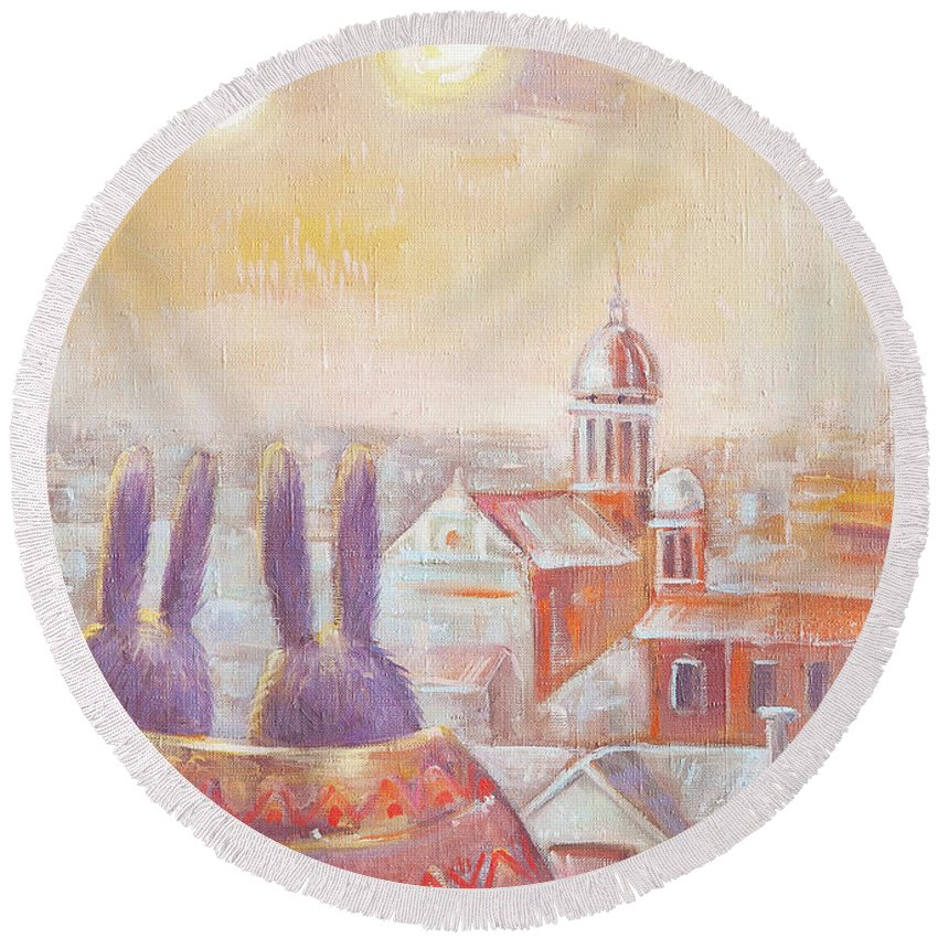 Rabbit Round Beach Towel featuring the painting Rabbits In Rome by Olga Yatsenko