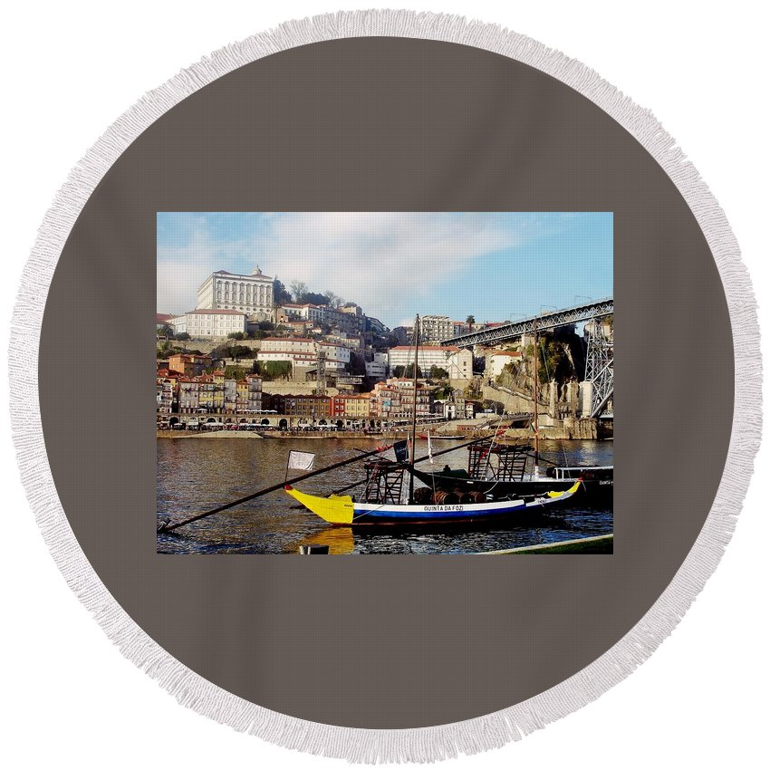 Porto Round Beach Towel featuring the photograph Rabelo Boats On River Douro In Porto 02 by Dora Hathazi Mendes