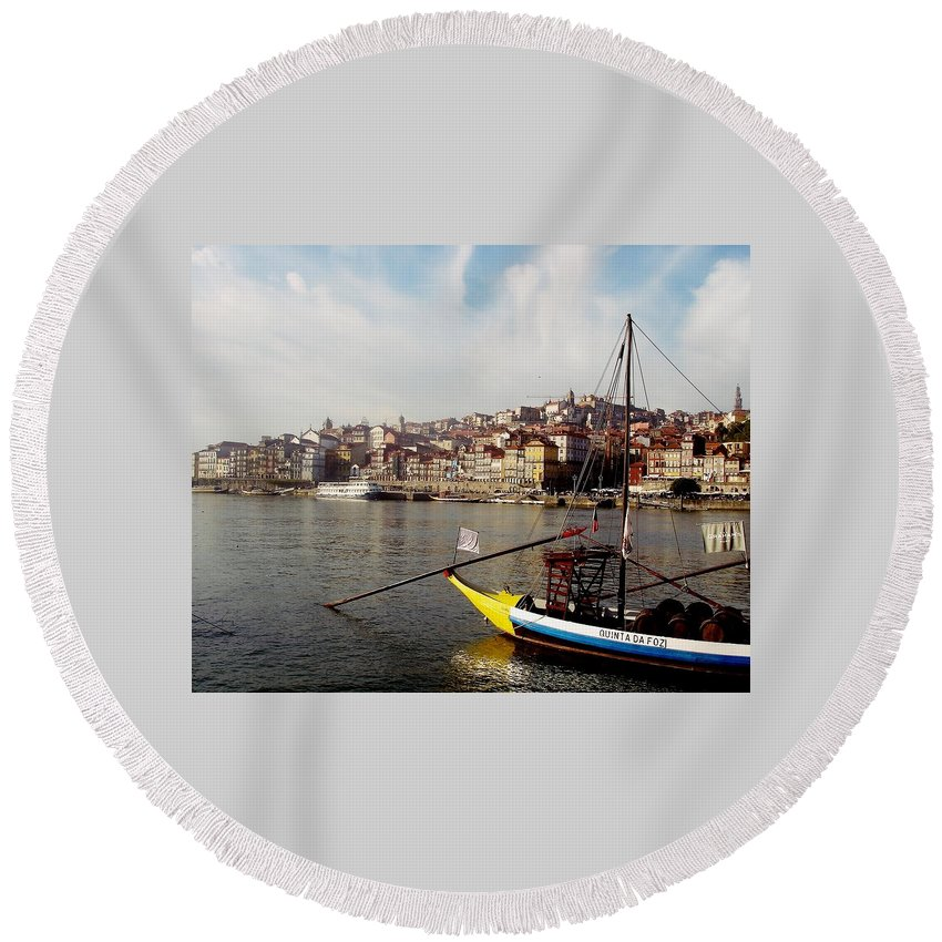 Porto Round Beach Towel featuring the photograph Rabelo Boats On River Douro In Porto 03 by Dora Hathazi Mendes