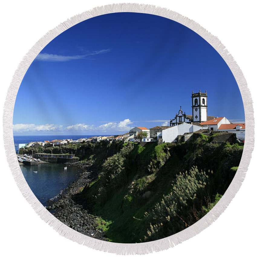 Azores Round Beach Towel featuring the photograph Rabo De Peixe by Gaspar Avila