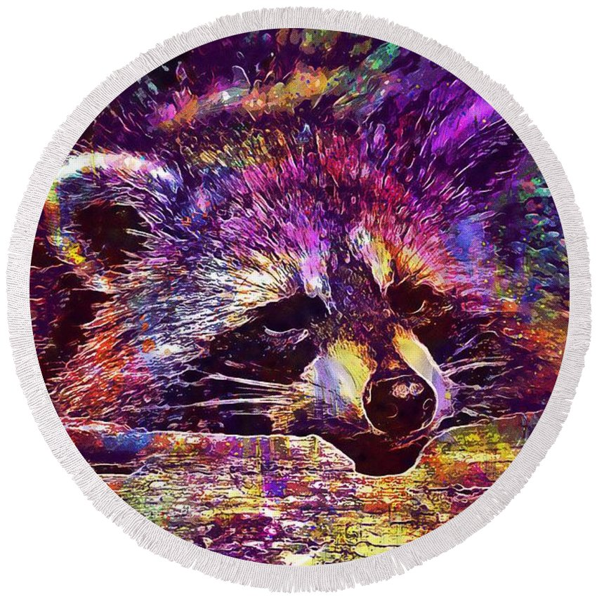 Raccoon Round Beach Towel featuring the digital art Raccoon Wild Animal Furry Mammal by PixBreak Art