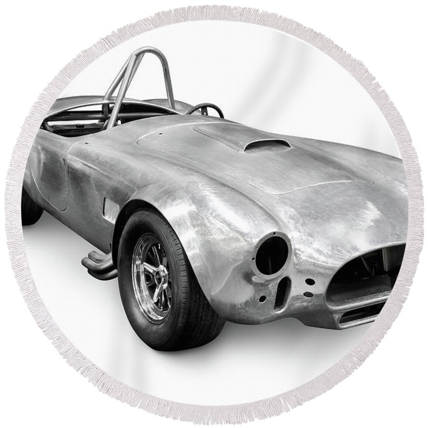 Car Round Beach Towel featuring the photograph Race Car With Stripped Off Paint by Maxim Images Prints